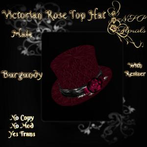 NSP Victorian Rose Top Hat (M) (Burgundy)