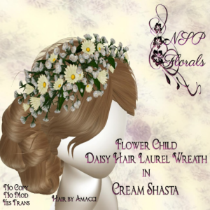 NSP Flower Child Hair Wreath Cream Shasta boxed S&D 499-199L