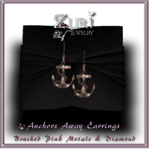 Anchors Away Diamond-Brushed Pink Metals Earrings 55L