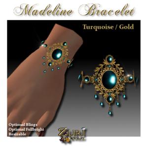 Madeline Bracelet- Turquoise-Gold